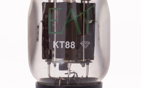 E.A.T. KT88 Diamond Valve; A KT88 tube that is in a league of it's own. This KT88 tube is available in factory-matched quartets. It's construction features include black plates, black metal base, and gold pins.