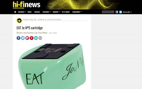 E.A.T. Jo N° 5 outstanding product by Hi-Fi News