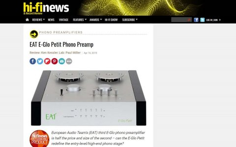 E.A.T. E-Glo Petit outstanding product by Hi-Fi News