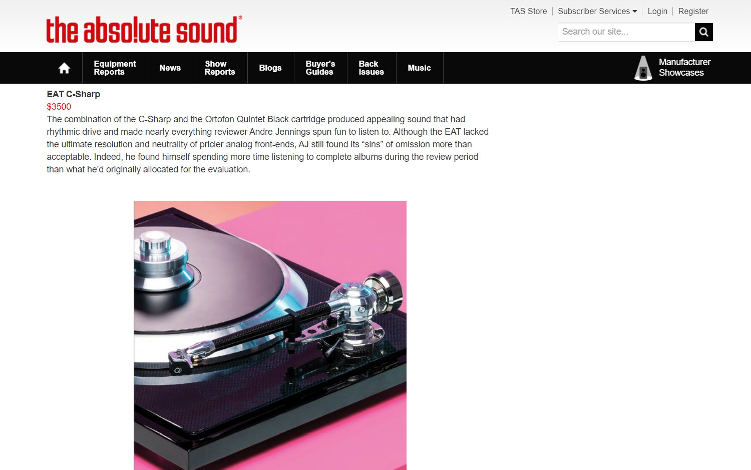 E.A.T. C-Sharp Editor's Choice Award by The Absolute Sound